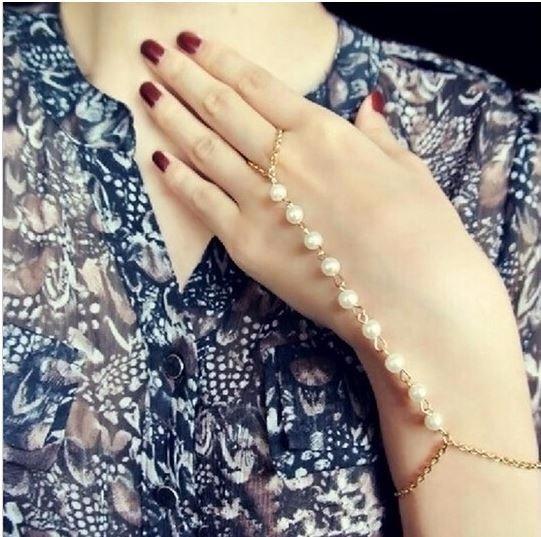 Pulsera De Perlas Con Anillo Plata Dorado Bisuteria Joyeria