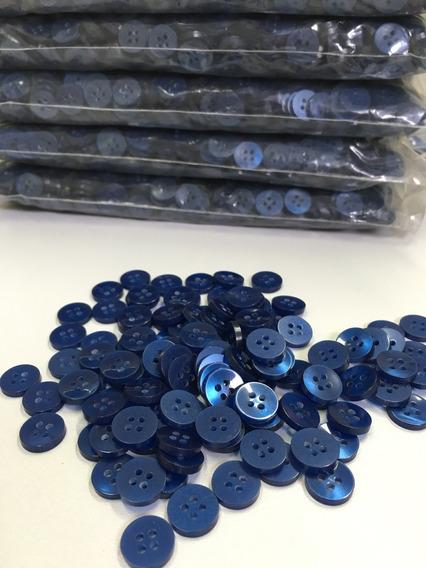 Botão Camisaria Poliéster 4 Furos Azul 12mm Diâmetro