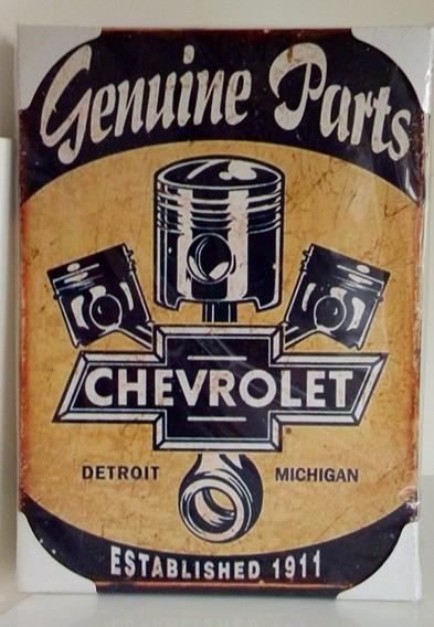 Quadro De Aço Pistão Chevrolet Retrô Decorativo