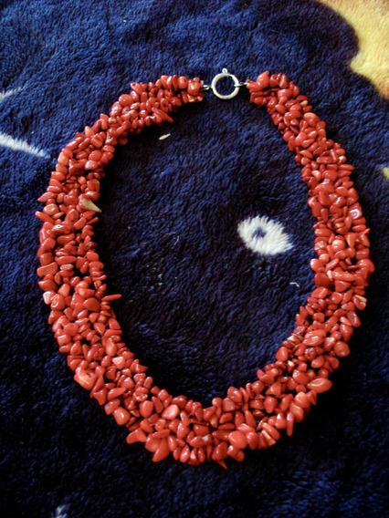 Hermoso Collar Rojo De Piedras Naturales Y Plata