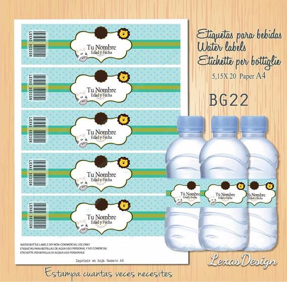 Etiquetas Botellas Bebidas Zoo Candy Bar, Pdf Bg22