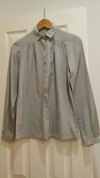 Camisa De Seda Gris Impecable !!!!