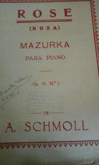 Partitura Piano-rose Mazurka A. Schmoll Op. 50 N. 1