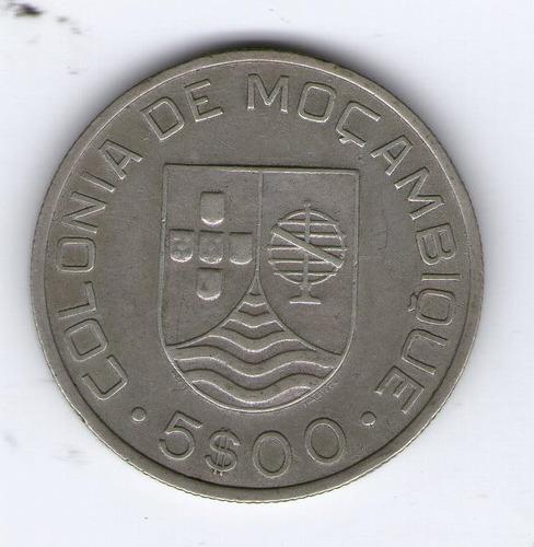 Mozambique Moneda De Plata 1935 5 Escudos Km#62 - Argentvs