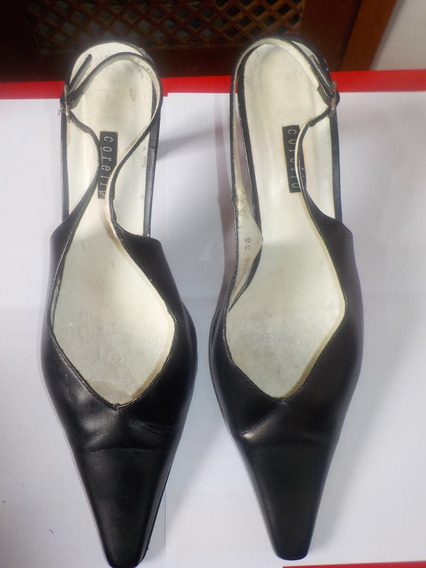 Sapato Corello Preto Nº36 C/ Salto 7,5cm E Saltinho Novo. Ok