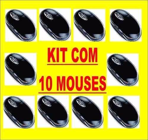 Kit 10 Mouses Óptico Usb Preto