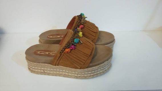 Zuecos Sandalias De Cuero Vacuno Flecos Y Yute De Diseño