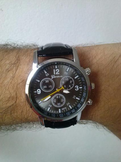 Relógio De Pulso Masculino Pulseira De Couro Pu - Geneva