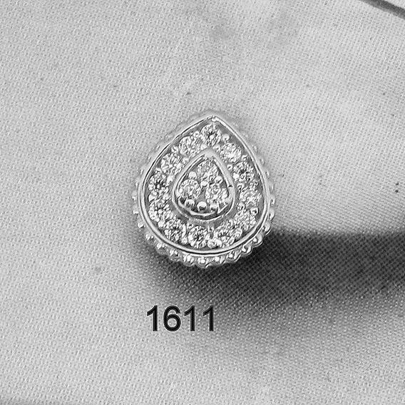 1611 Brinco De Ouro Branco Gota Rpw Joias 18k-750