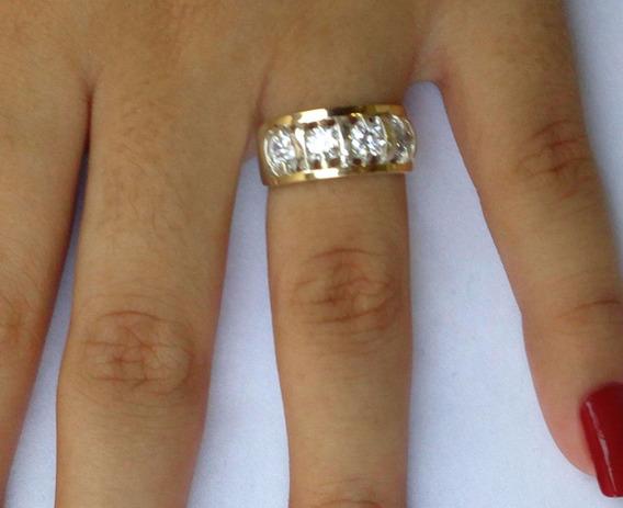 Anel Feminino Prata 950 2 Apliques Ouro Pedras Zircônias