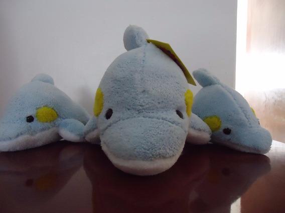 Golfinho De Pelucia Azul Mãe Com Dois Filhotes