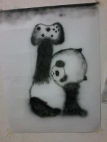 Aerografia Panda Com Controle De Vídeo Game Xbox 360