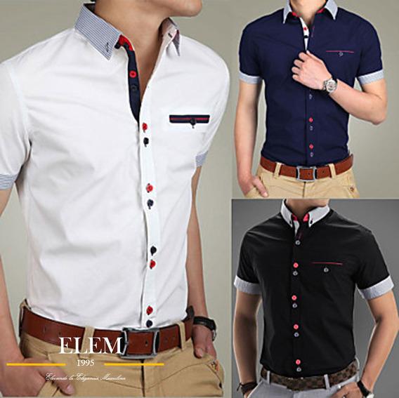 Camisas Sport Hombre Elegante Fit Slim Mod019