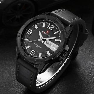 Relógio Pulseira Couro Luxo Esportivo Naviforce 9055 +brinde
