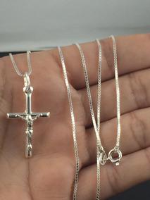 Corrente Cordão Prata Maciça 925 C/ Pingente Crucifixo 80cm