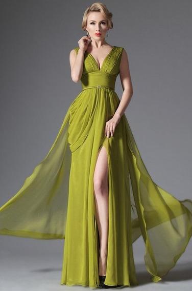 No Brasil! Deslumbrante Vestido De Festa Com Fenda Frontal
