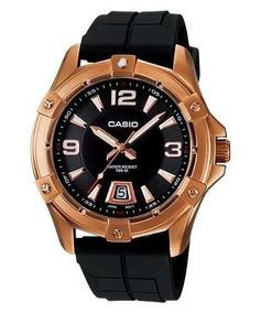 Relógio Casio Mtd1062-1a Caixa Dourada Masculino Visor Preto