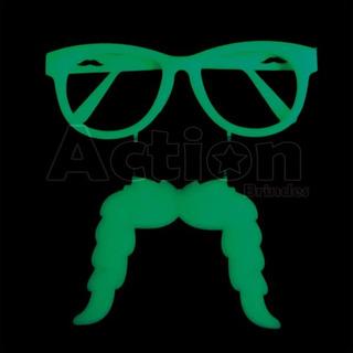Óculos Bigode Neon Brilha No Escuro - Kit 6 Unidades