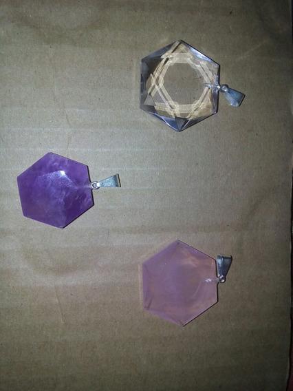 Kit 5 Estrela De Davi Ametista Quartzo Rosa E Cristal