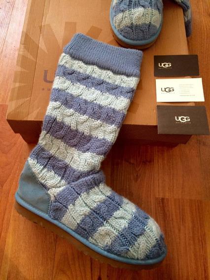 Padrisimas Botas Ugg Striped Knitt Azules 26 100% Originales