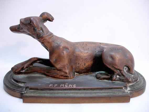 Escultura Cachorro Bronze Pj. Mene Original França Sec Xlx