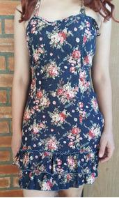 Dimy Mini Vestido Jeans Stretch Floral Novo Tenho Farm