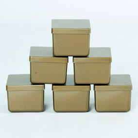 60 Caixa Caixinha Dourada 6x6 Acrílico Lembrancinha