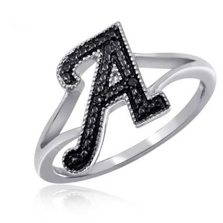 Jewelersclub Negro Diamante Sterling Mágicas Inicial De Plat