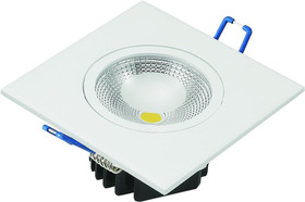 Kit 06 Spot Led Cob 5w Embutir Quadrado 6000k Branco Frio