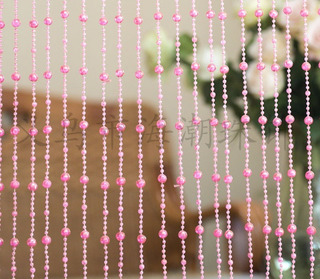 Cortina De Miçanga Rosa Cristal Acrilica Com Brilho