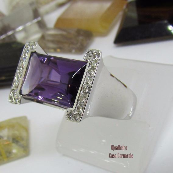 Anel Ouro 18k Maciço Pedra Diamantes E Ametista Joia Única