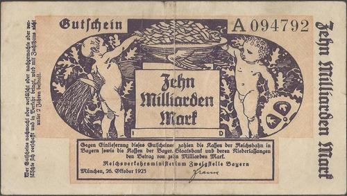 Alemania Regional Railroads 10 Millar Mark 20 Oct 1923 S1115