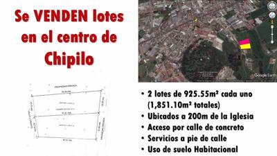 Se Vende Terreno En El Centro De Chipilo -2 Lotes-