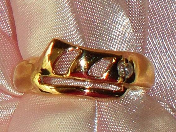 Fabuloso Anel Semi-jóia C/ Banho18k/zircônia,itália,déc.80