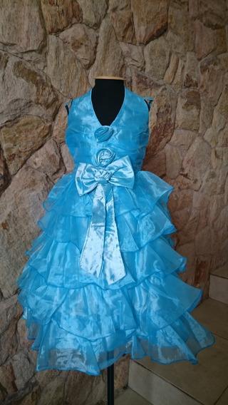 Vestido Infantil Festa Frente Única Elsa Cinderela Azul