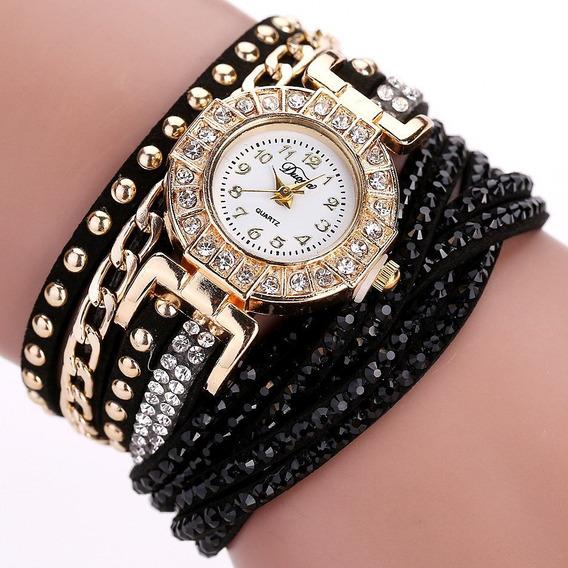 Relógios Quartz De Pulso Pulseira De Strass Cristal