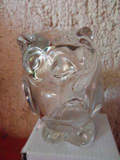 Elegante Y Preciosa Figura Buho De Cristal Souvenir