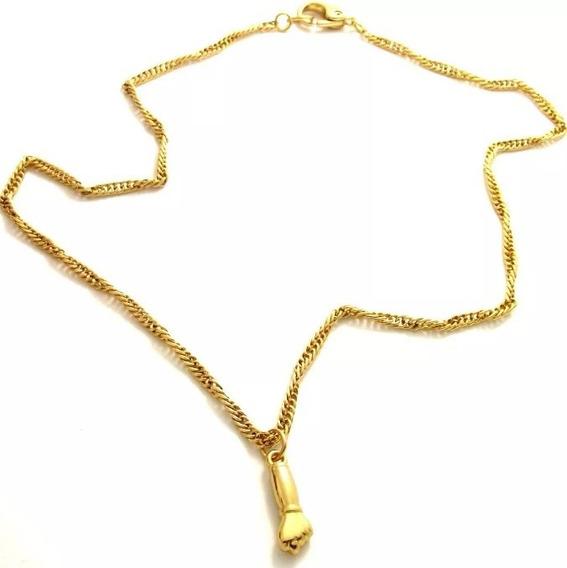 Colar Figa Amuleto Banhado Ouro 18k + Saquinho De Veludo