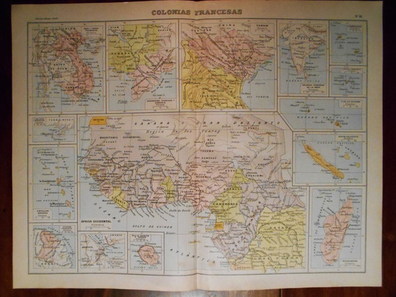 Mapa Antiguo Colonias Francesas Grabado Frances Circa 1900