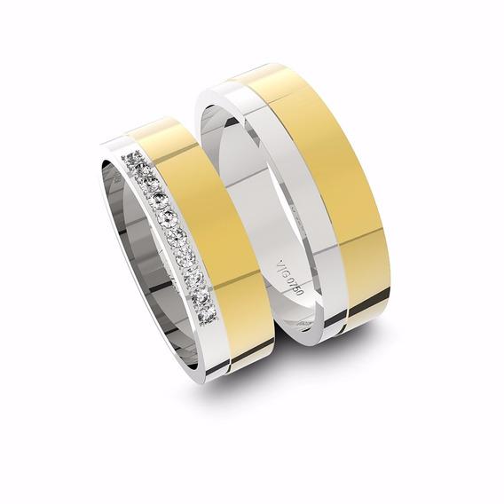 Alianças De Ouro 18k Amarelo E Ouro 18k Branco Com Diamantes