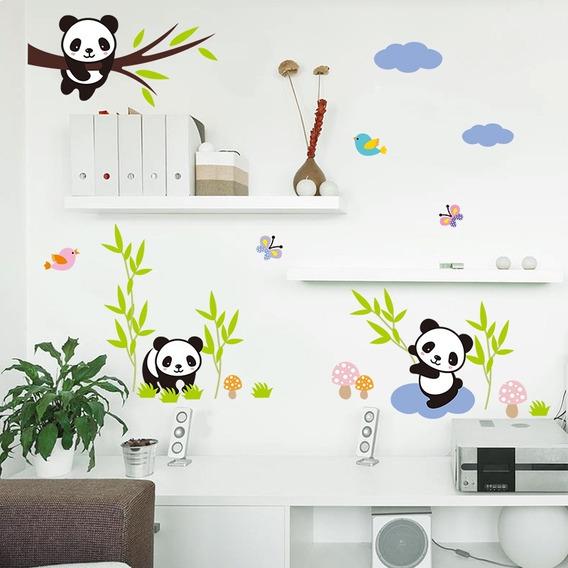 Adesivo De Parede Infantil Quarto Bebe Urso Panda Colorido