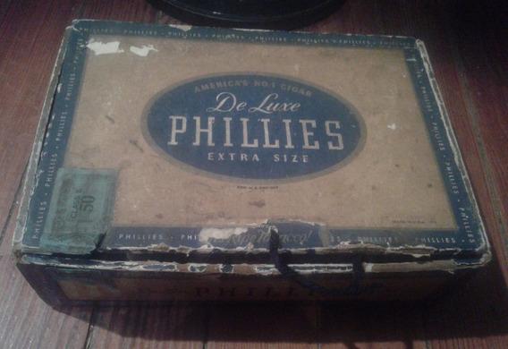 Antigua Caja Cigarros Habanos Box Phillies De Luxe Extra Siz