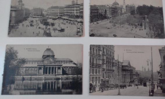 Cuatro Tarjetas Postales Antiguas De Madrid