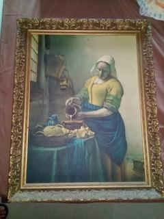 Reproducción Sobre Tela De Cuadro La Lechera Vermeer 60x45cm