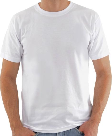 4 Camisetas Malha Fria Brancas C/ Costura Dupla Nos Ombros