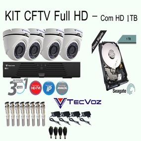 Kit 04 Cameras Hd Ir Dvr 4 Canais Com Hd 1 Tb