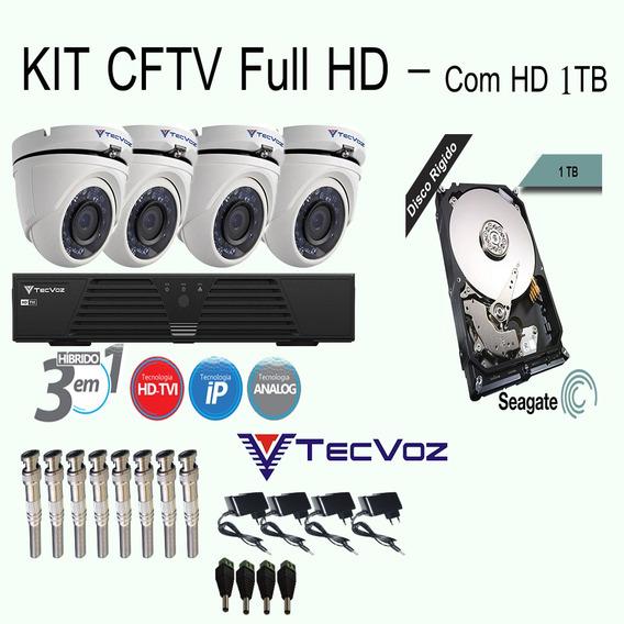 Kit 04 Cameras Hd Ir Dvr 4 Canais Com Hd 1 Tb