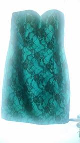 Vestido Linha Pura Forro Tafeta Verde Com Renda Preta