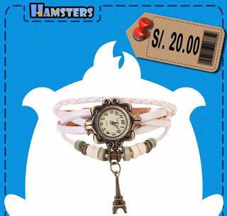 Reloj Pulsera De Cuero Con Pendiente Metálico