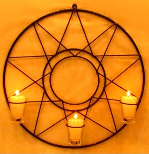 Mandala Sol Estrela 40 Cm Parede Castiçal Porta Vela Copinho